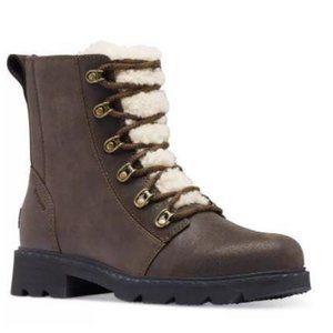NEW Sorel Lennox Lace Cozy Lug Boot Brown 8.5